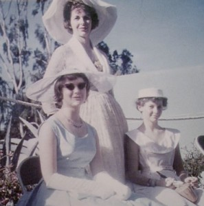 My sister (left), my mother (center) and myself – all dressed up for the Queen Mother's Garden Party at Government House, Nairobi, 1958