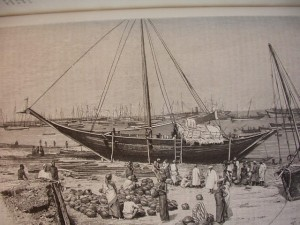 This mtepe was beached for loading in Zanzibar in 1888. Dr. David Livingstone used mtepe to transport his camels.